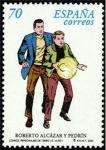 Stamps Spain -  ESPAÑA 2000 3713 Sello Nuevo Comics. Personajes Tebeo Roberto Alcazar y Pedrin Michel3546