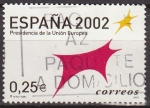 Stamps of the world : Spain :  ESPAÑA 2002 3865 Sello Presidencia Union Europea Toro Logotipo Usado