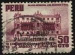 Stamps Peru -  Palacio Arzobispal de Lima, 1924 - 1949. Sobreimpreso V Congreso Panamericano de Carreteras.
