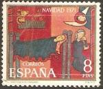 Stamps : Europe : Spain :  2062 - Navidad 71, fragmento del altar de sant andreu de sagars