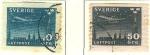 Stamps Sweden -  Avión volando sobre Estocolmo