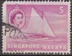 Sellos del Mundo : Asia : Singapur : SINGAPUR MALAYA 1955 Scott Michel 31 Sello Barcos Balandro Lombok usado