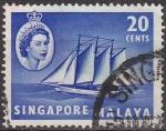 Stamps Asia - Singapore -  SINGAPUR MALAYA 1955 Scott Michel 36 Sello Barcos Goleta Cocos Keeling usado