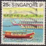Stamps Asia - Singapore -  SINGAPUR MALAYA 1990 Scott Michel 601 Sello Turismo Carreras de Botes Dragon usado