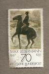 Stamps Germany -  Jinete en la playa por Max Liebermann