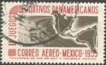 Stamps Mexico -  II Juevos deportivos Panamericanos. Estadio y mapa.