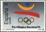 Sellos del Mundo : Europa : España : 2963 - Barcelona '92 - Logotipo y aros olímpicos