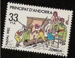Stamps Andorra -  Navidad 1982 - vareando al tió de Nadal