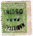 Sellos del Mundo : Europa : España : 1907 Guinea: Alfonso XIII 4 c. habilitado para 5 c impresion invertida Edifil 58Vea