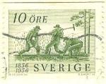 Stamps Sweden -  Centenario de los ferrocarriles suecos (Colocación de railes)