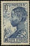 Sellos de Europa - Francia -  Cote D'Ivoire. Mujer de la Tribu Baoule.