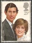 Stamps : Europe : United_Kingdom :  Lady Dy y el Príncipe Carlos