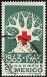 Stamps Mexico -  100 años de la fundación de la Cruz Roja. 1863-1963.
