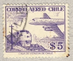 Stamps Chile -  ferrocarril y avion
