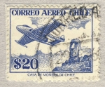 Stamps of the world : Chile :  Estatua Isla de Pascua (moái) y hidoravion
