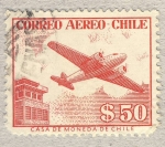 sellos de America - Chile -  edificio y avion