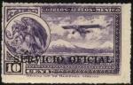 Sellos del Mundo : America : México : Águila mitológica devorando la serpiente. Avión sobrevolando montañas. Sobreimp. Servicio Oficial.