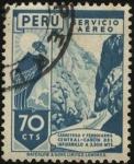 Stamps Peru -  Cóndor. Carretera y Ferrocarril Central. Cañón del Infiernillo a 3.300 mts altura.