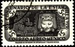 Stamps America - Mexico -  Quetzalcoatl, dios serpiente y máscara. Centenario de la estampilla en México. 1856 - 1956.