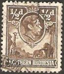 Stamps Africa - Zambia -  george VI, jirafa y elefantes