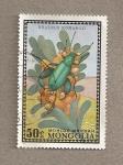 Sellos de Asia - Mongolia -  Escarabajo Rhaebus komarovi