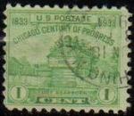 Stamps United States -  USA 1933 Scott 728 Sello Chicago Restauración Fuerte Dearborn usado Estados Unidos Etats Unis