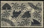 Sellos de Europa - Francia -  Costa Francesa de Somalia. DJIBOUTI.  Choza, locomotora y barco a vela.