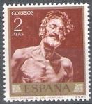 Stamps Spain -  Mariano Fortuny Marsal. Viejo desnudo al sol.