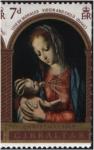 Stamps : Europe : Gibraltar :  Madonna y Niño, de Luis Morales