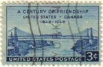 Sellos de America - Estados Unidos -  USA 1948 Scott 961 Sello Cent. Amistad US Canada NIAGARA Puente de Ferrocarriles en Suspension usado