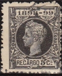 Stamps Europe - Spain -  ESPAÑA 1898 240 Sello Alfonso XIII  Recargo 5c. Sello Impuesto de Guerra Usado