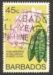 Sellos del Mundo : America : Barbados : flora, phalaenopsis schilleriana