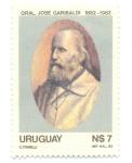 Sellos de America - Uruguay -  CENTENARIO DE LA MUERTE DEL GRAL. G. GARIBALDI