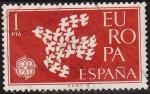 Sellos de Europa - España -  ESPAÑA 1961 1371 Sello Europa CEPT Paloma de la Paz 1p usado
