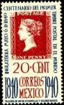 Stamps America - Mexico -  Reproducción de 'PENNY BLACK' Centenario del primer timbre postal en el mundo. 1840-1940.