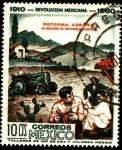 Stamps America - Mexico -  Revolución mexicana. 1910 - 1960. Reforma agraria con 45 millones de hectáreas repartidas.