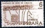 Stamps Spain -  Forjadores de America.Plano de Santiago de Leon de Caracas.