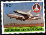 Stamps Africa - Central African Republic -  Centroafrica 1981: Traslado del shuttle por un Jumbo