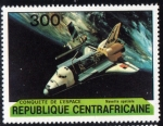 Stamps Africa - Central African Republic -  Centroafrica 1981: Shuttle colocando en orbita un satelite