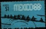 Sellos de America - México -  Bote remo  8 con timonel. Olimpíadas México 1968.