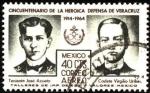 Stamps America - Mexico -  50 años de la heroica defensa de Veracruz. Teniente José Azueta y Cadete Virgilio Uribe. 1914 - 1964