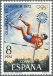 Stamps Spain -  ESPAÑA 1972 2101 Sello Nuevo XX Juegos Olimpicos de Munich Saltio con Pértiga c/señal charnela