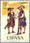 Stamps Spain -  ESPAÑA 1974 2171 Sello Nuevo Serie Uniformes Militares Mosqueteros de los Tercios Morados Viejos c/s