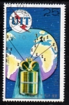 Stamps North Korea -  1976 100 Aniversario UIT:  Red Intelsat