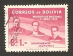 Stamps of the world : Bolivia :  revolución nacional, independencia economca
