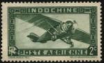 Stamps Europe - France -  Indochina, colonia francesa de Asia. Aeroplano monomotor. Correo Aéreo.