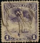 Sellos de America - Argentina -  Dos navíos anclados, representación espíritu santo, ancla color negro semi sumergida. Buenos Aires,