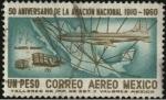 Sellos de America - M�xico -  Aeroplano de Alberto BRANIFF en 1910 y Aerol�nea Britannia 302.