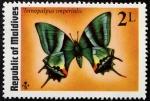 Sellos de Asia - Maldivas -  Mariposas