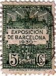 Sellos de Europa - España -  Barcelona. Vistas de la exposición y escudo de la ciudad